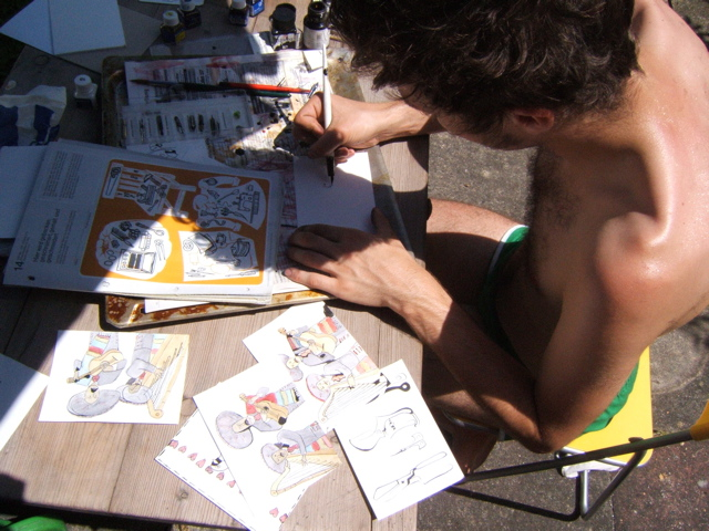 Michael painting mariachis in Winnenden, Germany